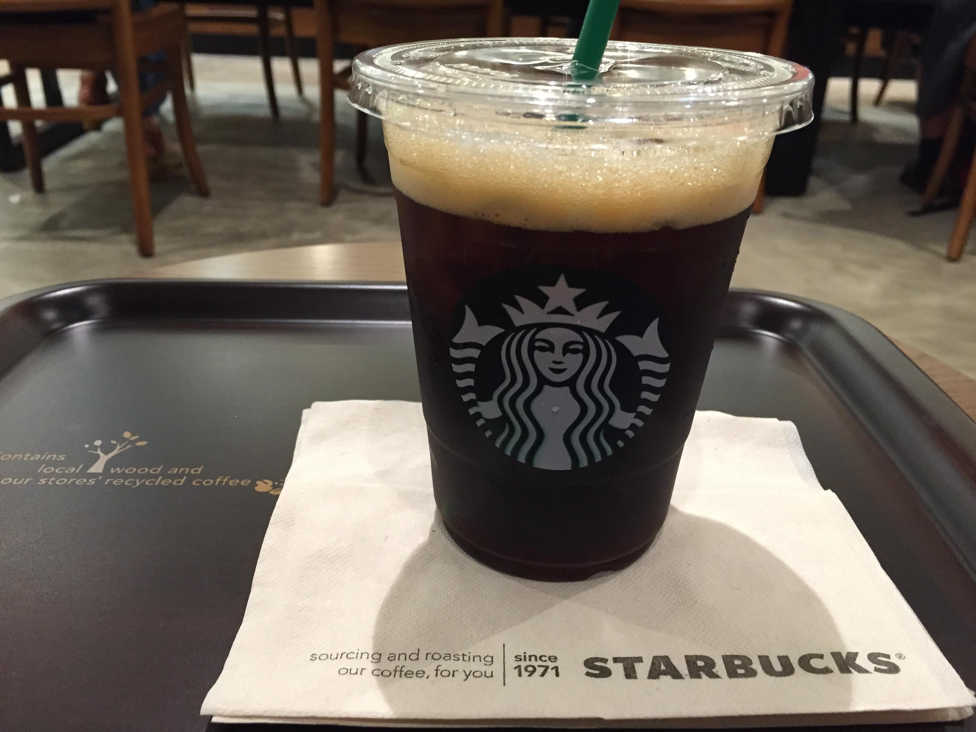 神戸・東灘JR住吉駅前のスターバックスでアイスバレンシアコーヒーとニコちゃんマーク ※写真レポあり